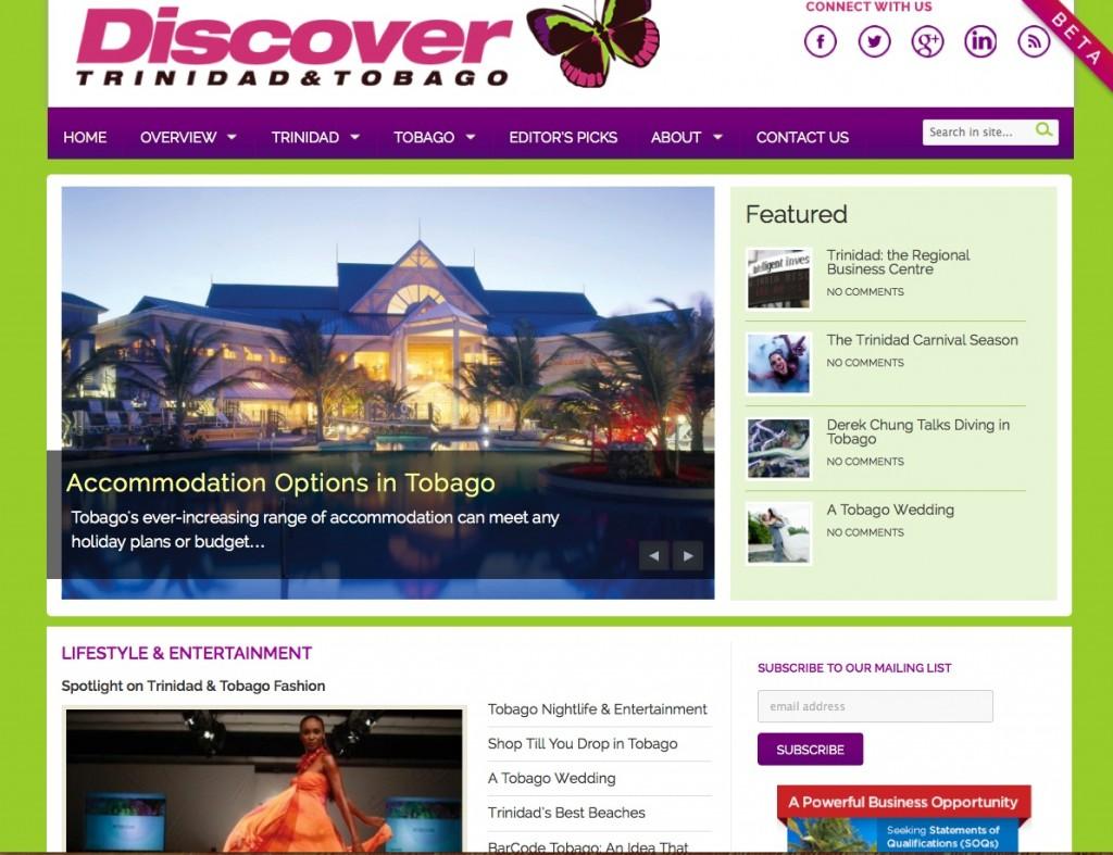 Discover Trinidad & Tobago Website 2013