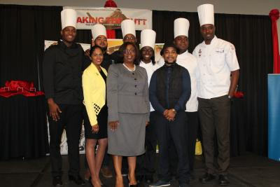 The Acting Permanent Secretary of the Ministry of Tourism, Ethlyn John (centre), stands with the 2017 National Culinary Team. Photo courtesy the Ministry of Tourism
