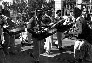 A steelband in Port of Spain in the early 1950s