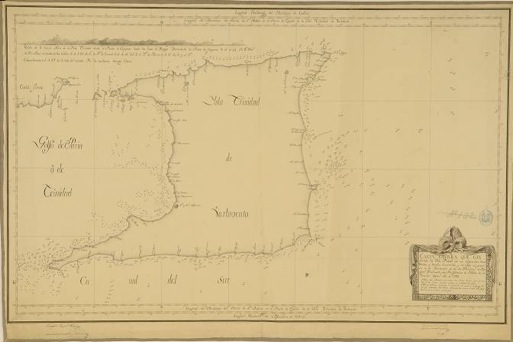 1793 Island of Trinidad (Trinidad and Tobago). Naval Museum of Madrid. MN-31-C-3. Trinidad (Trinidad and Tobago) Joaquín Francisco Fidalgo, Manuel del Castillo y Armenta, Cosme Damián de Churruca y Elorza, Antonio de Quesada  Spherical chart covering the island of Trinidad: with its nearby islands, depressions, depths, and contours.  Constructed and rectifying Bergants divisions. Scale [ca. 1:200000] 1 nautical letter. : ms., set on fabric; 63.7 x 95.7 cm The hand-written signatures of Joaquín Francisco Fidalgo, Manuel del Castillo y Armenta, Cosme de Churruca and Antonio de Quesada are included. Description of the seabed's relief by means of bathymetric sounding. It indicates bathymetric sounding lines, contours, reefs, and features of the ocean floor.