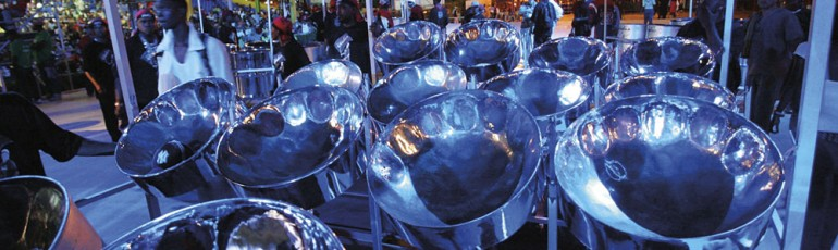 Exodus steelband's pans being pushed onstage for Panorama on Carnival Saturday. Photo courtesy TDC