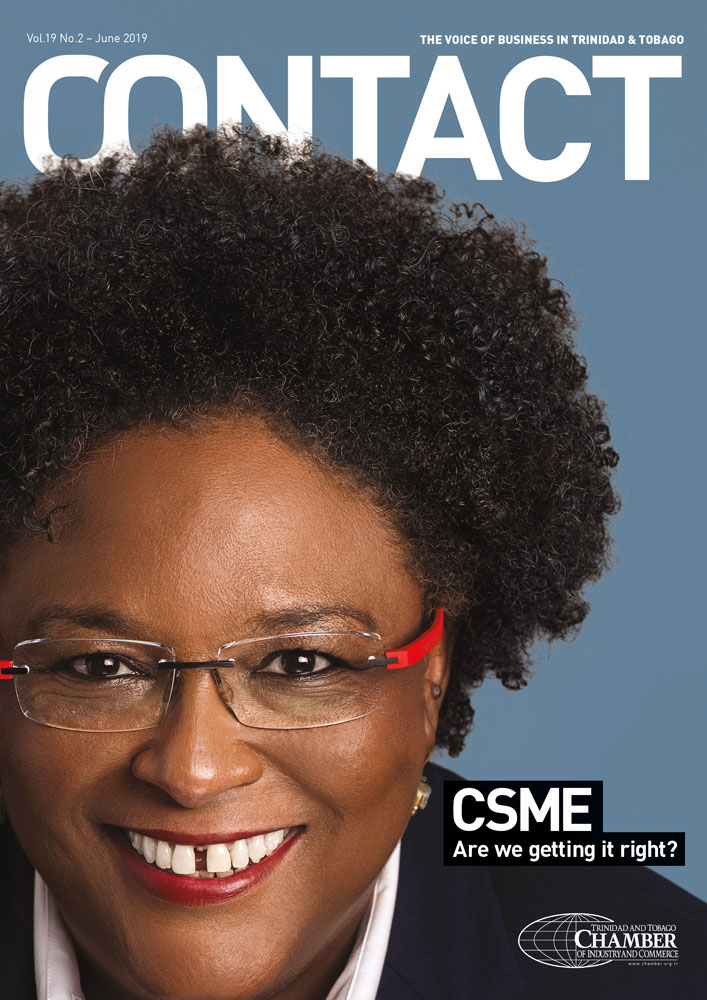 Mia Mottley on cover of Contact Busines Magazine June 2019
